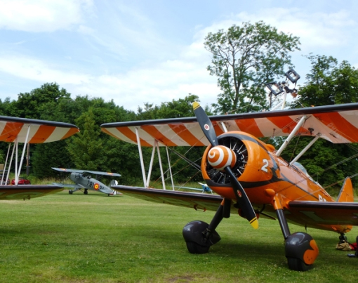 The Breitling WIngwalker's Boeing Stearman aircraft at Archerfield ready for Scotland's National Airshow in 2013.