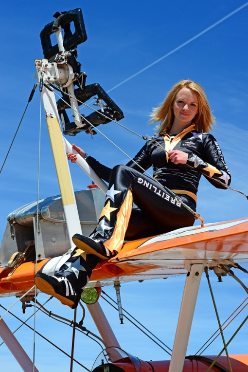 Lydia Beadle, Breightling Wingwalker will take part in Scotland's National Airshow on Saturday 26 July 2014 at National Museum of Flight, East Fortune © Richard Foord