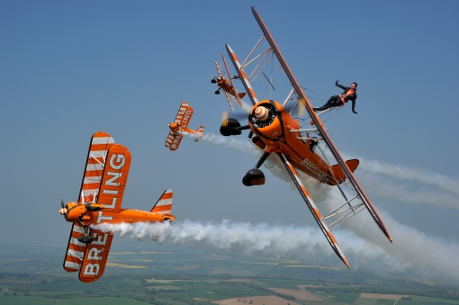 The Breilting Wingwalkers aerobatic display team take to the skies at Scotland#s National Airshow on Saturday 26 July 2014 at East Fortune © Tokunaga