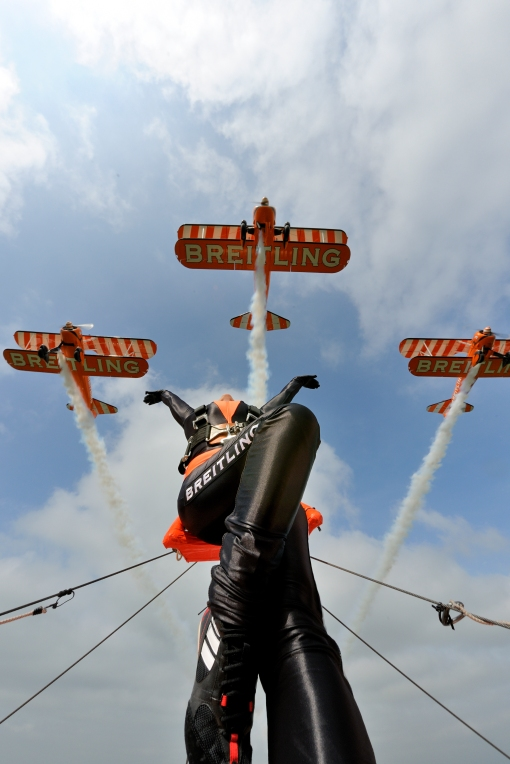 The Breilting Wingwalkers aerobatic display team take to the skies at Scotland's National Airshow on Saturday 26 July 2014 at East Fortune © Tokunaga