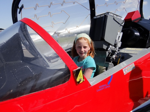 Trying out the RAF Red Arrows Hawkjet at Scotland's National Airshow on 26 July 2014.