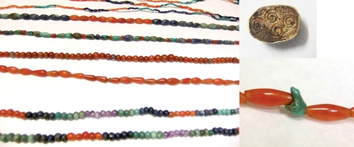 Beaded necklaces found in a tomb at Harageh