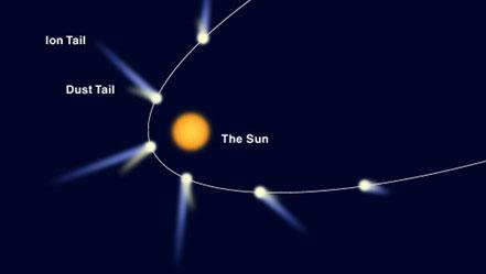 The orbit of a comet round the Sun