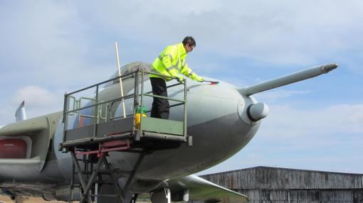 The Vulcan aircraft being cleaned at National Museum of Flight